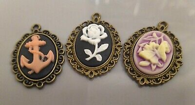 £1.69 • Buy Set Of 3 Assorted Floral Cameo Cabochon Findings Necklace Pendants Crafts Cheap