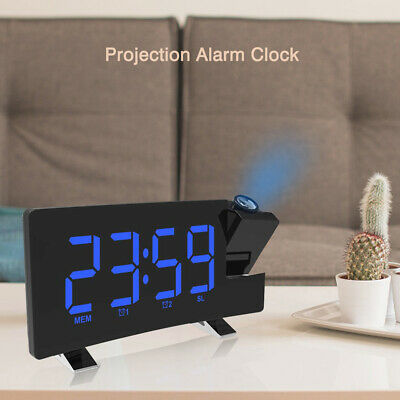 AU45.99 • Buy LED Projection Alarm Clock LCD Voice Talking Projector Temperature Calendars FM