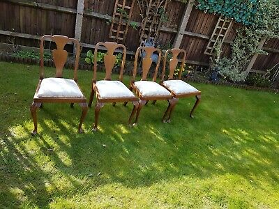 £50 • Buy Set Of 4 Vintage Wooden Dining Chairs Cabriole Legs Newly Reupholstered