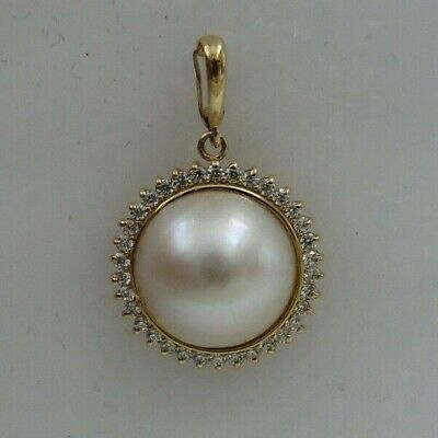 $360 • Buy Mabe 13.8 Mm Pearl With 14k Yellow Gold Enhancer & Cubic Zirconia
