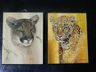 $ CDN48.51 • Buy Vintage Phil Prentice Cougar And Leopard Prints On Particle Board Hanging Art