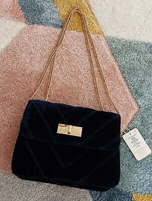 £5 • Buy Primark Blue Velour Evening Bag With Chain Handle