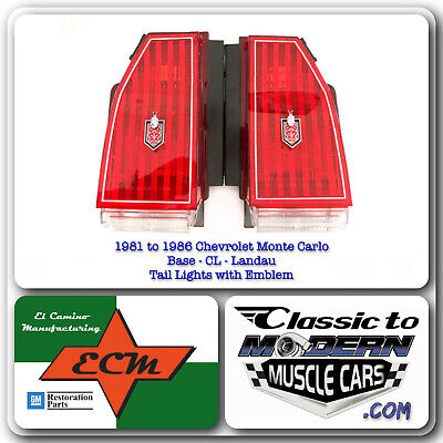$315 • Buy 81-86 Chevy Monte Carlo Base, CL & Landau Tail Light / Red Lenses With Emblem