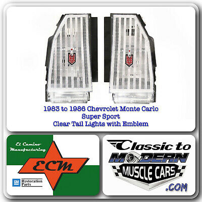 $395 • Buy 83-86 Chevrolet Monte Carlo Super Sport Tail Light / Clear Lenses With Emblem