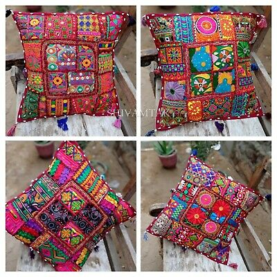 £8.99 • Buy Indian Handmade Patchwork Pillow Case Embroidery Tassel Cushion Cover 40cmx40cm