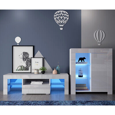 £155.99 • Buy White TV Stand / Cabinet Cupboard Set High Gloss Door Glass Shelf FREE LED
