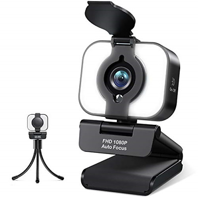 Webcam 1080P With Ring Light And Microphone, USB Web Camera With Privacy Cover, • 31.22£