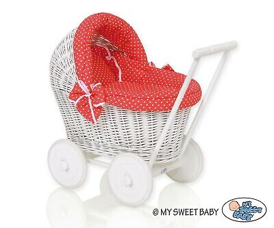 £81.35 • Buy Doll Wicker Baby Pram Carriage Stroller Buggy Wood Gift For Baby Multi Colours