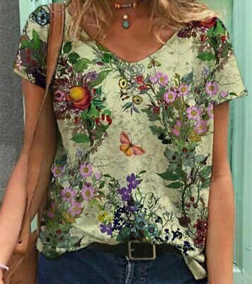 £19.99 • Buy Women T-Shirt Casual Floral Print V-Neck Ladies Tops Tee Clothing