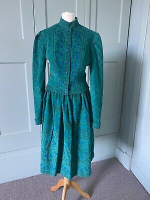 £95 • Buy Vintage Cloth Kits Corduroy Skirt And Jacket 8-10 Green And Blue