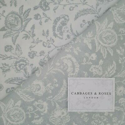 Duo Of Cabbages & Roses Fabric Remnants Blue/Grey 60cm X 60cm 100% Cotton  • 12.95£