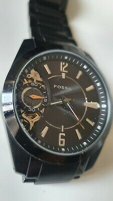 $41.70 • Buy Black Fossil Twist Watch Automatic & Battery Powered Metal Strap Mens Slick