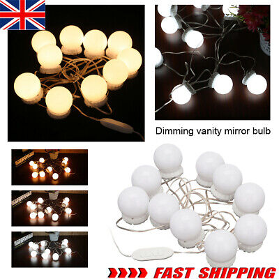 Hollywood LED Vanity Mirror Lights Kit 10 Dimmable Bulbs For Makeup Dressing PE • 9.59£