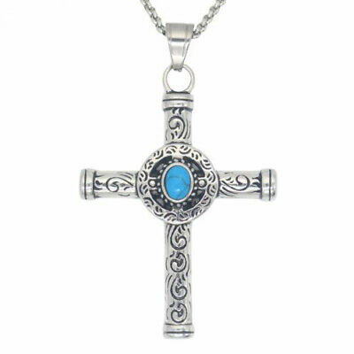 $9.99 • Buy Mens Celtic Norse Turquoise Cross Stainless Steel Necklace Gothic Pendant