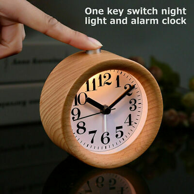 AU21.99 • Buy Modern Classic Round Silent Desk Table Snooze Beech Wood Alarm Clock Night Light
