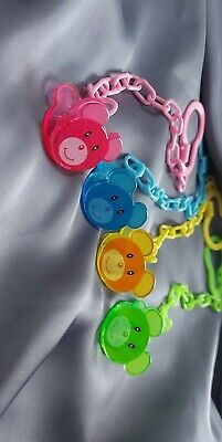 £1.99 • Buy Dummy Clips Baby Soother Chain Holder Strap Pacifier Pack Of 4 Wholesale Price