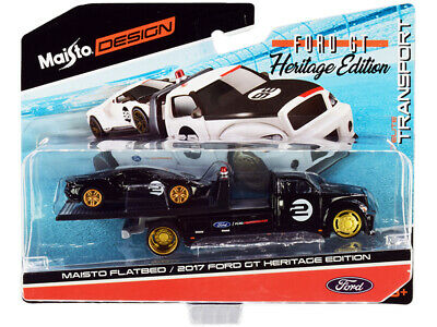 $14 • Buy 2017 Ford GT #2 Heritage Edition With Flatbed Truck Black  Elite Transport