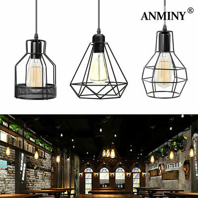 £9.99 • Buy Metal Pendant Light Shade Ceiling Industrial Geometric Wire Cage Lampshade
