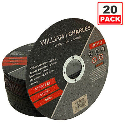£8.50 • Buy 115mm 4.5  20pc Ultra Thin Metal Cutting Disc 1/2  Stainless Steel & Steel