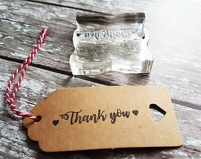 £6.50 • Buy Thank You Rubber Stamp / DIY Wedding Favours/ Gift Tags / Craft