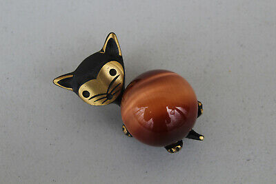 Vintage WALTER BOSSE GERMANY CAT WITH BALL FIGURINE Solid BRASS Mid-century • 87.30£