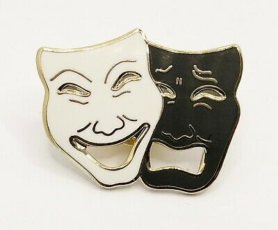 £25 • Buy 12x (TWELVE) NEW Comedy & Tragedy Theatre Masks Pin Badges (black And White)