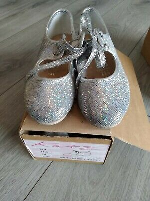 Girls Silver Glitter Low Heel Tap Dance Shoes With Tap Plates By Katz • 3£
