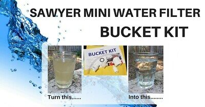 AU22.27 • Buy 2 PACK Sawyer Mini Water Filter Bucket Kit - Perfect For Survivalists & Preppers