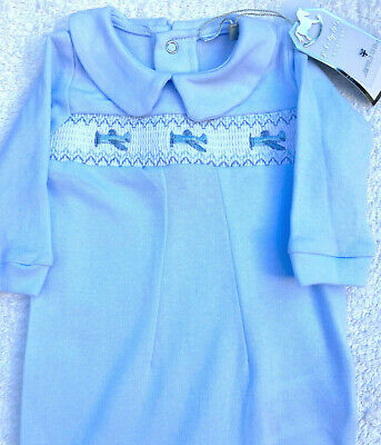 AU20 • Buy Baby Boy Blue Long Sleeve Romper/Sleepsuit One-piece With Smocking & Embroidery