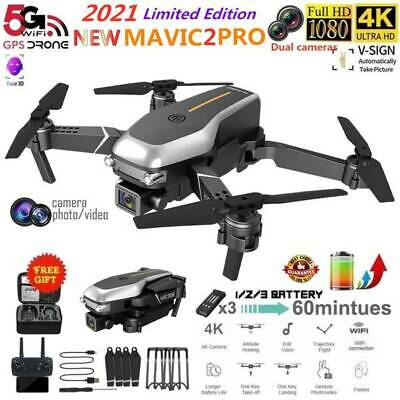 AU69.98 • Buy Drones With HD 4K Dual Camera Follow Me RC Brushless Wifi FPV Drone 3*Battery AU