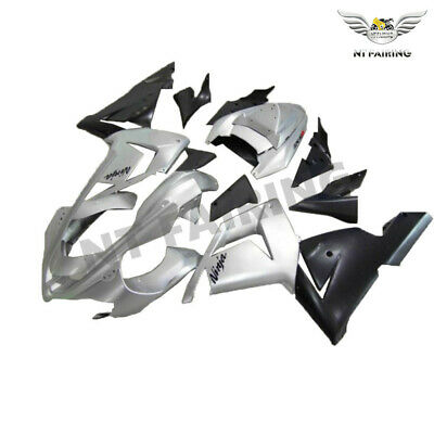 $469.99 • Buy WO Injection Silver Black Fairing Kit Fit For Kawasaki 2004 2005 ZX10R ABS H035