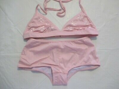 £8.95 • Buy Wild Orchid Pink Embroidered Halterneck Bikini With Boy Shorts  Size 16