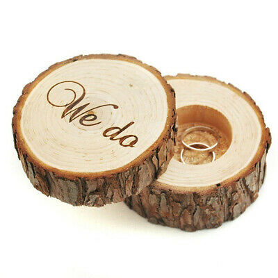 Wooden Ring Holder Case Gift Rustic Wedding Engagement Ring Box #P09 • 0.99£