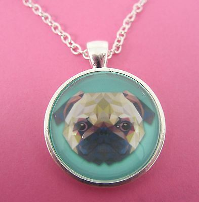 £4.99 • Buy Cute Pug Dog Triangle Design Silver Pendant Glass Necklace New In Gift Bag