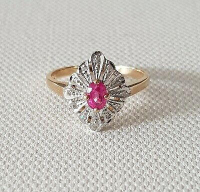 AU550 • Buy 14ct Gold Pink Sapphire & Diamond Cluster Ring