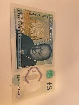 AA 01 Low Number Circulated £5.00 Five Pound Note No: AA01 134697 • 4.20£