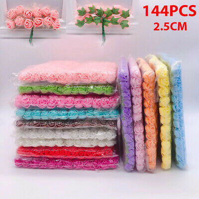 £4.99 • Buy 144Pcs Mini Artificial Flowers Small Foam Rose Heads Wedding Party Decor Bouquet