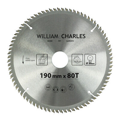 £9.99 • Buy TCT Circular Wood Saw Blade 190mm X 80T 30mm Bore With 16 20 25 Reduction Rings