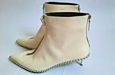 AU203.35 • Buy ALEXANDER WANG Authentic White Leather Studded Ankle Boots Size 41EU 10US