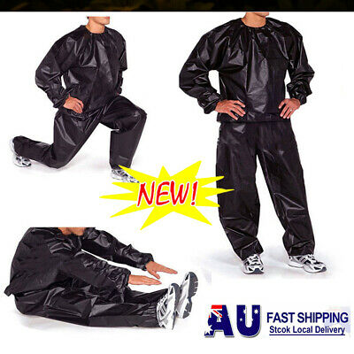 AU18.92 • Buy Heavy Duty Sweat Suit Sauna Suit Exercise Gym Suit Fitness Weight Loss Anti-Rip@
