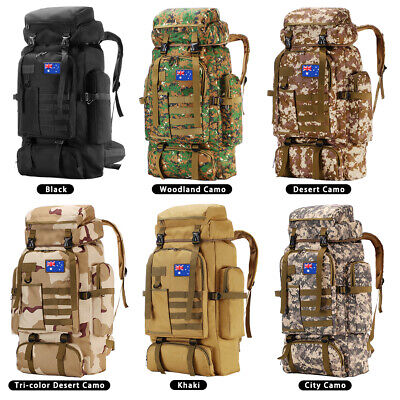 AU44.59 • Buy 80L/100L Large Military Tactical Backpack Rucksack Bag Camping Outdoor Hiking
