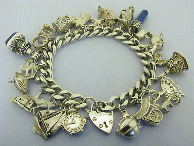 Heavy Vintage Solid Silver Charm Bracelet With 22 Charms 114 Grams Bir 1977 • 56£
