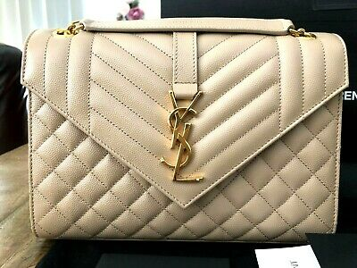 AU2350 • Buy Saint Laurent Beige Leather Medium Envelope Bag RRP $3100