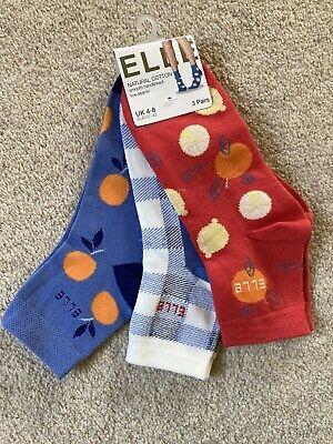 Elle Socks 3 Pairs Cotton Patterned Ankle Socks Smooth Hand Linked Toe Seams 4-8 • 9.99£