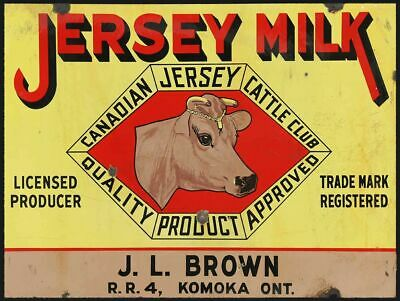 $51 • Buy Jersey Milk Canadian Cattle Club 16  Heavy Duty Usa Made Metal Advertising Sign