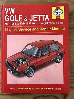 Haynes Service And Repair Manual VW Volkswagen Golf Jetta 1984 To 1992 • 3.99£