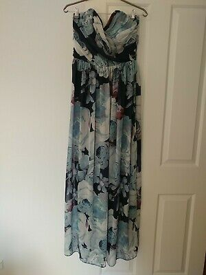 AU25 • Buy ASOS Size 16 Blue Floral Evening Gown.  Exc Condition. Shirred Back.