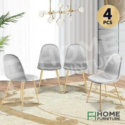 AU179.50 • Buy Dining Chairs Soft Fabric Velvet Chair Seat Cafe Office Modern Metal Leg Grey X4