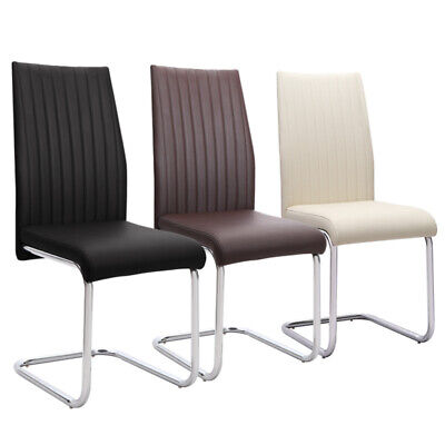 £182.95 • Buy Faux Leather Dining Chairs Z-Shape Chrome Legs Dining Chairs Kitchen Home Dinner