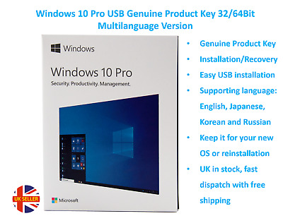 $ CDN100.68 • Buy Windows 10 Pro USB Genuine Product Key 32/64Bit Multi-language Version